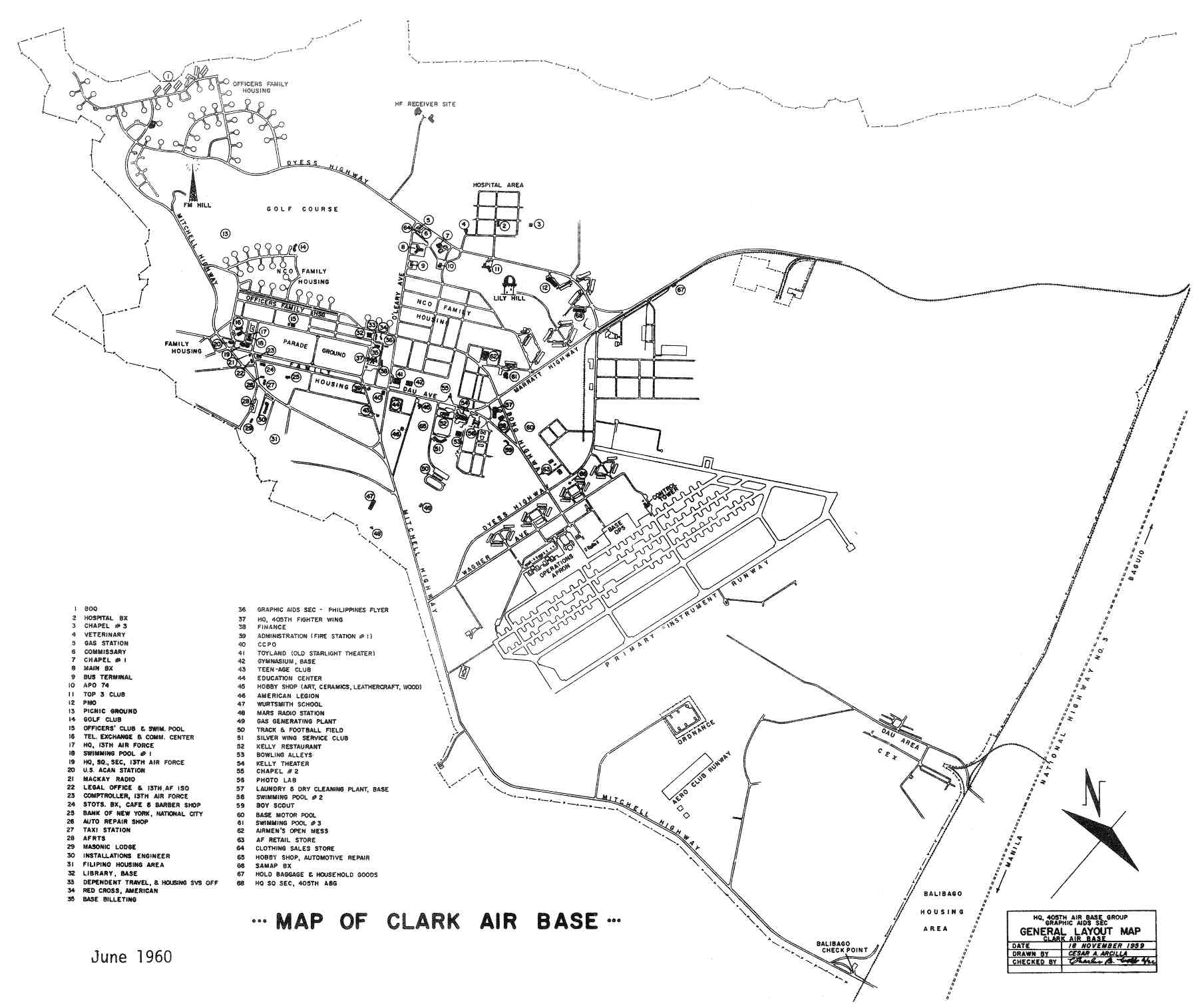 Philippines Clark Air Base Maps Charts And Blueprints - Us Air Force Bases In Japan Map